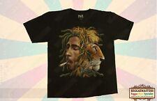 BOB MARLEY LION HEAD SMOKING SPLIFF  T-SHIRT DOUBLE SIDED REGGAE ONE LOVE