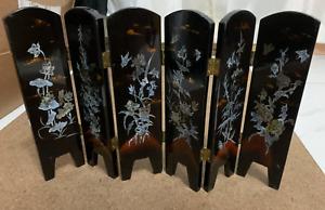 Mini Shoji Style 6 Wood Panels Divider Screen Gold Fish & Nature Design H: 9.5''