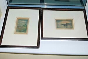 PAIR antique framed signed etchings Cornwall coastline Perranporth Drakes Island