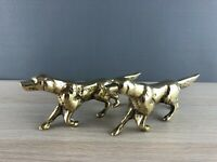 Pair of Vintage Solid Polished Brass English Setter Dog Figures / Statues decor