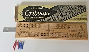 Vintage Cardinal Wood Cribbage 2 Player Board with 6 Pegs and Box  Awesome Board