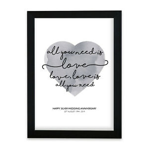 """The Beatles """"All You Need Is Love"""" Heart Print Music Song Lyric Personalised"""