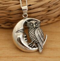925 Sterling Silver Owl on the Moon Large Pendant Necklace Gift Boxed