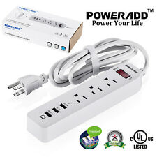 Poweradd 3 Outlet Power Strip Surge Protector with 3 USB Ports Lightningproof US