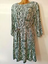 George 14 Grey White Long Sleeve Stretch Belted Animal Print Smart Dress
