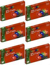 (6) ea Holiday Wonderland 525-88 25 ct Transparent MULTI C7 Christmas Light Sets
