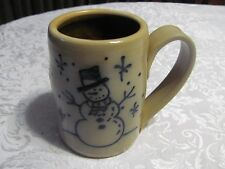 Goose Berry Patch Maple City Pottery SNOWMAN Mug Stoneware Blue Glazed Art Cup