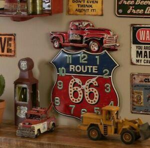 Uhr Retro Route 66 Wanduhr Nostalgie Dad´s Garage Auto Werkstatt 39x54cm 6KL0706
