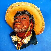 🌟 Bossons Chalkware Head Pancho 1969 Mexican Man in Sombrero Original Paintwork