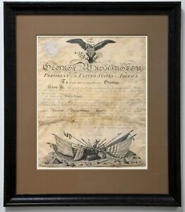 George Washington signed military commission as President 1793