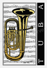 JCL Beautiful original stunning metallic gold and black Tuba card gift birthday