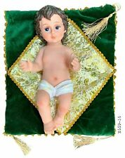 "Baby Jesus Figurine Christmas Holiday Jesus Nino Dios Figura GREEN Cloth 6"" Inch"