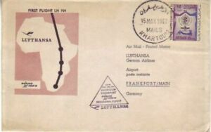 Sudan - Lufthansa Inaugural Flight Khartoum to Frankfurt (Airmail SC) 1962