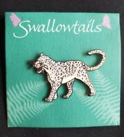 Snow Leopard Cloisonne Brooch by SwalowTails Handcrafted