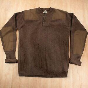 LL BEAN commando crewneck sweater LARGE TALL LT ribbed lambs wool henley 228198