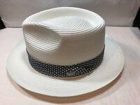BRAND NEW DOBBS FLOYD MEN'S STRAW HAT PINCH FRONT FEDORA MADE IN U.S.A WHITE