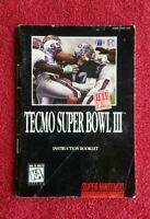 TECMO Super Bowl III 🏈 Final Edition SNES Super Nintendo MANUAL ONLY