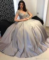Silver Party Prom Dresses Long Lace Appliques Beading Formal Evening Ball Gowns