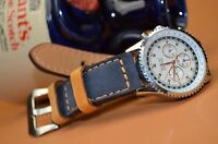 MA WATCH STRAP 26 24 22MM NUBUCK LEATHER FOREST BLUE HAVANA HANDMADE FOR PANERAI