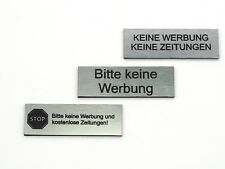 """Keine Werbung/"""" graviertes Schild selbstklebend 7x3 cm kein Aufkleber /""""STOP"""