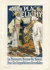 """""""A LA PLACE CLICHY"""" Litho Maîtres de l'Affiche entoilée Eugène GRASSET 1891"""
