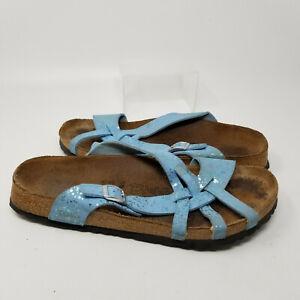 Birkenstock Birkis Blue Buckle Strappy Slip On Sandal Slides Women Size 11/42
