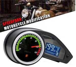 Motorcycle Odometer Speedometer Tachometer Fuel Gauge LCD Screen Digital Display