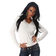 Basic Langarm Shirt Pullover Pulli V Ausschnitt und Knöpfen Creme Weiß  34 36 38