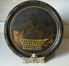 "19c Hand Painted Toleware Tray Fruit Basket Stencil 12"" Round Tole"