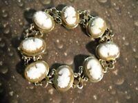 ~925 Sterling Silver Cameo Link Bracelet~
