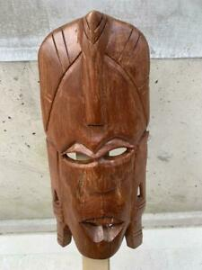 30 cm Asian Wooden Hand Carving Sculpture Traditional Mask Wall Hanging Vintage