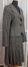 MAX MARA 2-Piece Skirt Suit Flared Skirt Blazer UK10/EU38 Glen Plaid Taupe Teal