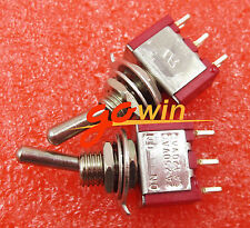 10Pcs Mts-102 3pin Mini Toggle Switch Spdt On-On 5A 125Vac Red Colour