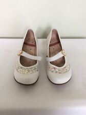 STACCATO White Leather Wedge Shoes, Floral Print Sequin Detail, UK Size 7