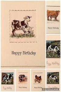 Handmade Birthday Card Farm animals Fabric blank for own message. Cow hen goat