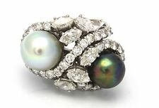 Antique 18k White Gold Twin Pearls 3.00 ctw Diamond Cocktail Ring 10.1g size5.25