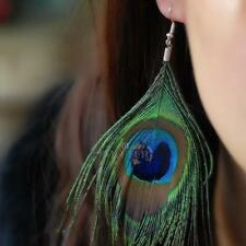 Women's Beautiful Peacock Feather Personality Long Eardrop Earring Dangle  S1#