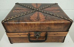 Hinged Wood Storage Chest Trunk Case Treasure Box Leaves Wicker Handles Display