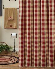 Country Garnet Wicklow  Shower Curtain 72X72 Buffalo Check Cotton Farmhouse