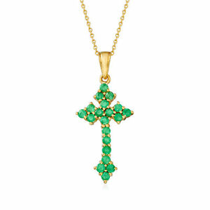 1.90 ct. t.w. Zambian Emerald Cross Pendant Necklace in 18kt Gold Over Sterling