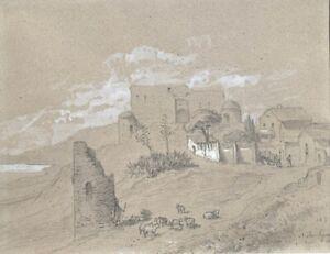 Alfred Koechlin Schwartz (1829-1895) Antique French DrawingFrench Riviera 1866