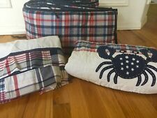 Pottery Barn Kids Crab Madras Plaid Crib Quilt Bumper Bedskirt