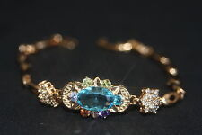 Vintage Created Mixstone Topaz Flower Rose Gold GF Bracelet 18cm/7.08 inches