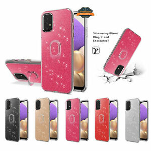 For Samsung Galaxy A32 5G Bling Sparkly Glitter Shiny TPU Case Ring Stand Cover
