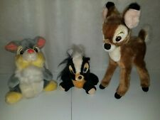 Vintage Walt Disney World Bambi Plush Lot 1980's Stuffed Animals Flower Thumper