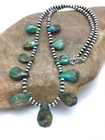 """Native American Navajo Sterling Silver Green Turquoise Necklace 20"""" 3103"""