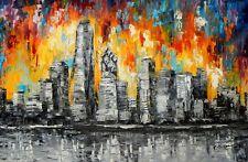 Abstrait - New York Dans Les Cendres 60x90 cm Peinture à l'huile