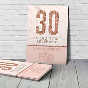 ROSE GOLD BIRTHDAY INVITATIONS - 18th, 21st, 30th, 40th, 50th, ANY AGE
