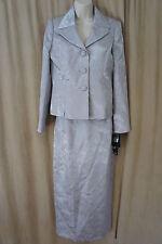 """Le Suit Sz 4 Silver """"Luxemburg Gardens"""" Floral Print Career Evening Skirt Suit"""