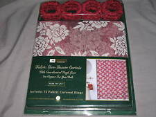 Elegant Maroon Fabric Shower Curtain Lace Liner Floral Bath Rings NEW!